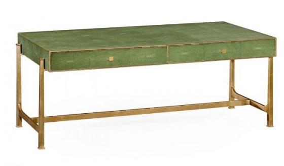 Green Faux Shagreen Coffee Table with Gilded Base main image