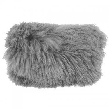"Grey Mongolian Lamb Pillow 12""x20"" main image"
