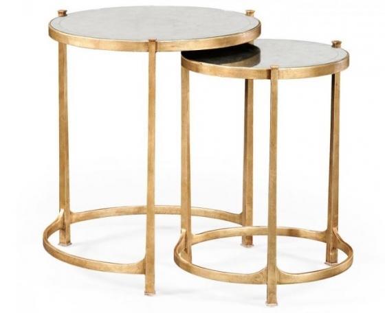Églomisé & Gilded Iron Round Nest of Tables main image