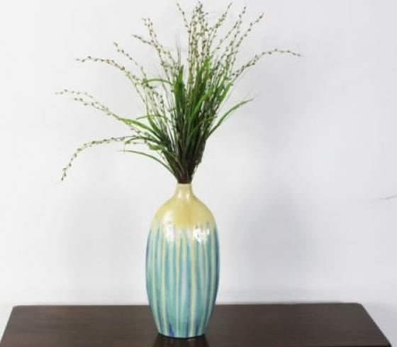 Blu,Yellow,And Lavender Tall Grass Vase main image