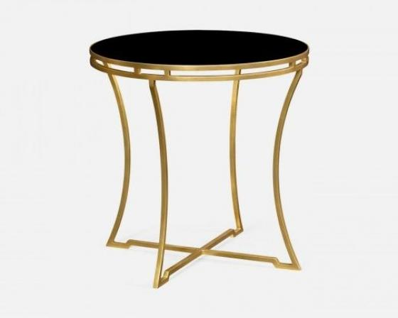 Gilded Iron Round Side Table with A Black Glass To main image