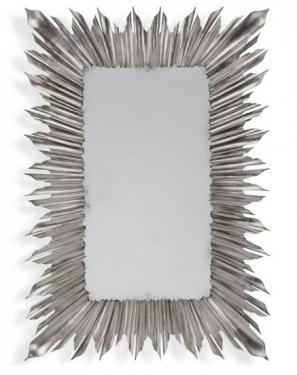 Silvered Rectangular Sunburst Mirror main image
