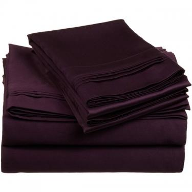 Plum 1800 Thread Ct Queen Sheet Set (4) main image