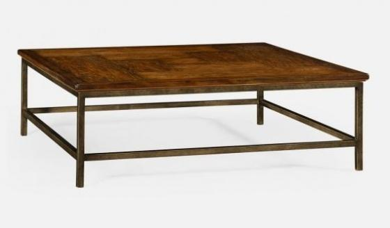 Country Walnut Square Coffee Table with Iron Base main image