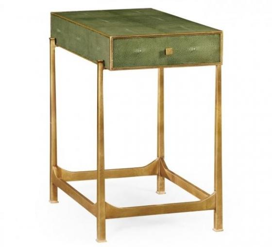 Green Faux Shagreen Gilded Side Table main image