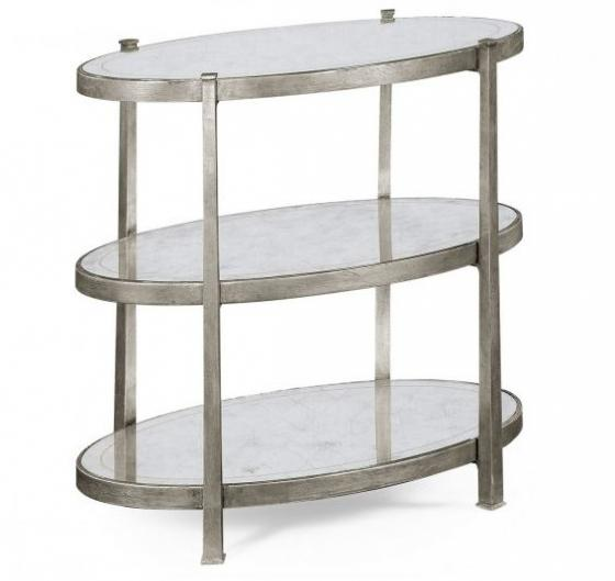 Small Églomisé & Silver Iron Three-Tier Table main image