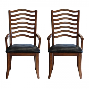 2 Black Leather Seat Ladder Captain chairs  main image