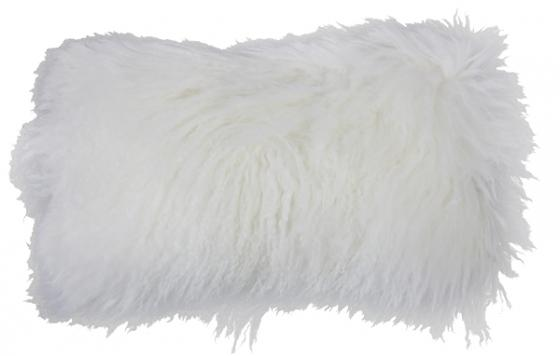 """Ivory Mongolian Lamb Pillow 12""""x20"""" main image"""