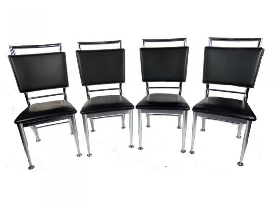 Set of 4 - Black leather & chrome chairs main image