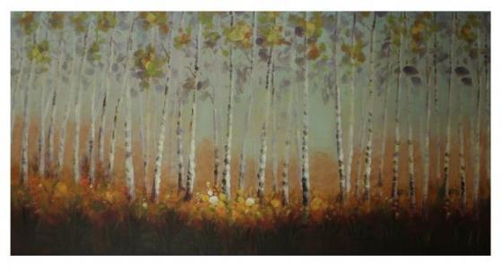 Yellow/Grey Tree Line Canvas Art main image