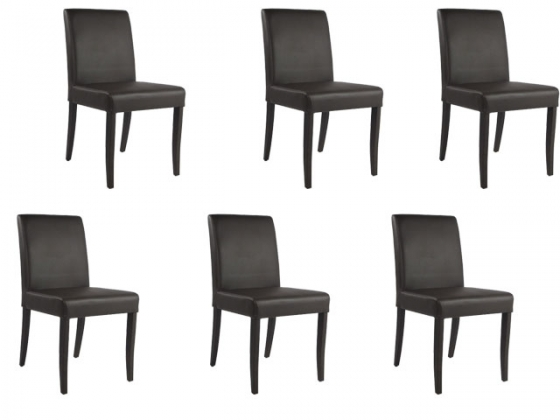 Brown Leather Dining Chairs (6) main image