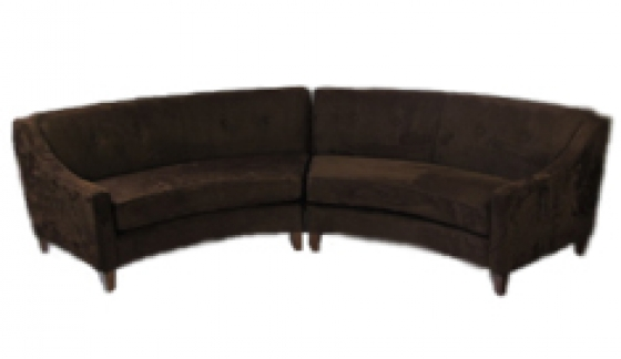 Curved Brown Suede Sectional Sofa main image