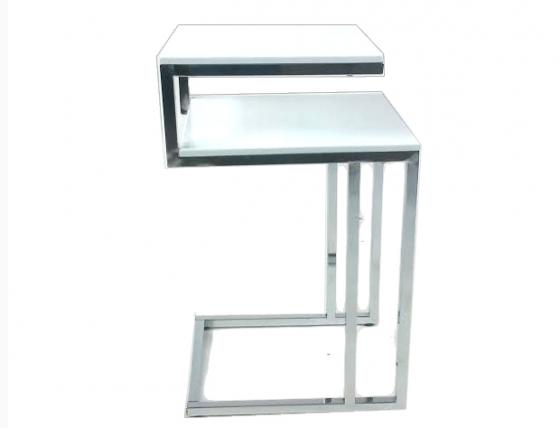 White/Chrome Accent Side Table main image