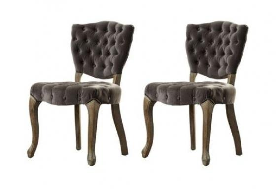 2 Grey Velvety Tufted Chairs main image