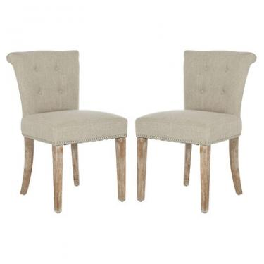 Grey Linen Tufted Chair Set main image