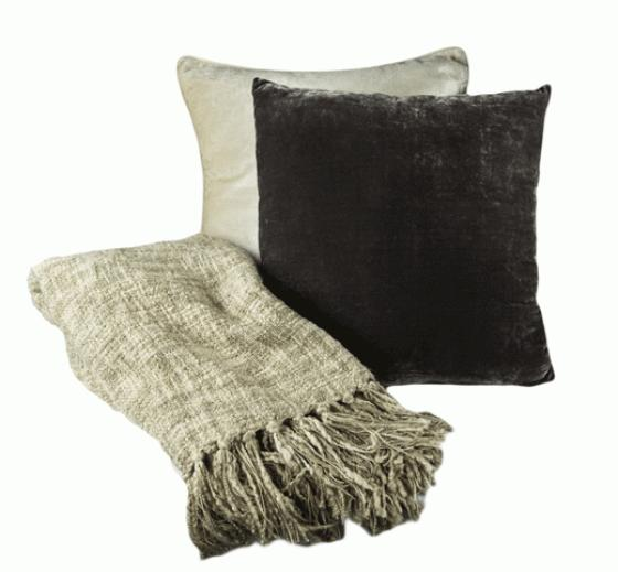 Purple and Beige Pillow and Throw Set main image