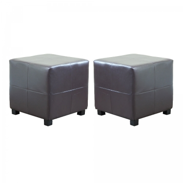 Brown Espresso Leather Cube Ottomans (2) main image