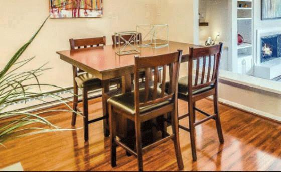 Brown Square Table with Chairs  Image 2