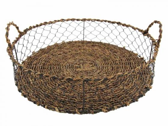 Brown Wicker & Wire Basket Tray main image