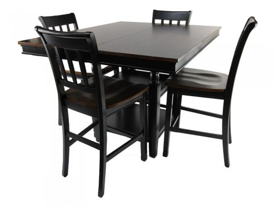 Black and Brown Counter Height Table with Chairs main image