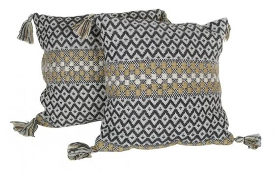 Grey and Tan Pillows With Tassels main image