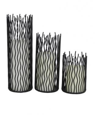 Set of 3 Black Wire Candle Holders W/ Candles main image
