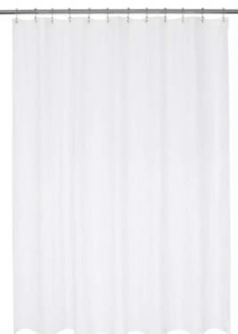 White Shower Curtain With Hooks