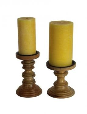 2 Wood Candle Holders W/ Candles main image