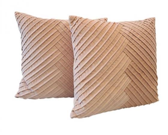 Rose Colored Velvet Pillows W/ Chevron Design main image