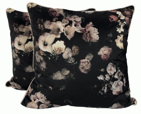 Black Floral Pillows main image