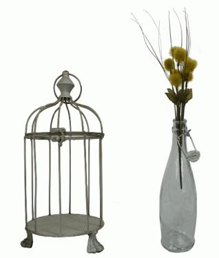 Gray Metal Birdcage and Flowers  main image