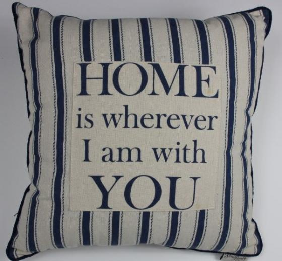 """""""Home Is Where I Am With You"""" Throw Pillow Blue main image"""