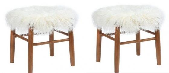 Faux Fur Accent Stools main image