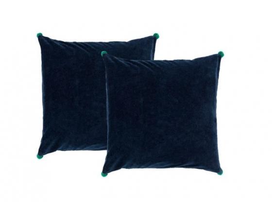 Navy w/ Green Velvet Pom Poms Pillows main image