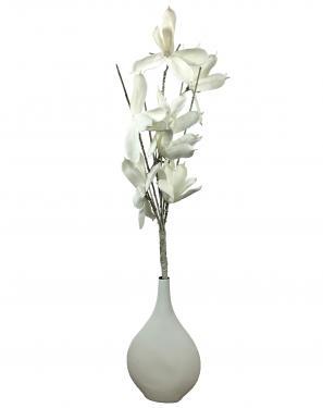 White Ceramic Vase  w/ Foam Flower main image