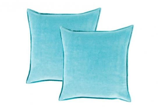 Aqua Cotton Velvet Pillows main image