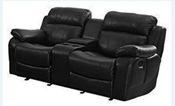 Black Leather Reclining Theater Loveseat main image