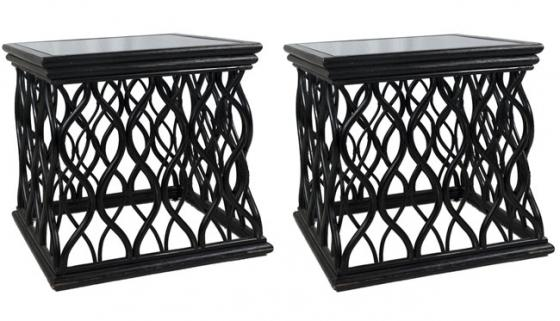 Wood End Tables with Glass Tops main image