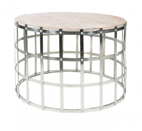 Rustic Round Wood Top Coffee Table main image