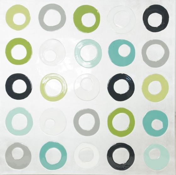 Silver, Black & Green - Large Abstract Artwork main image