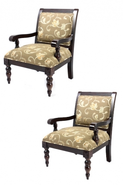 Brown Floral & Mahogny Chairs main image