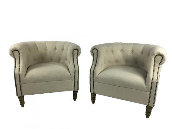 Tufted Cream Chairs main image