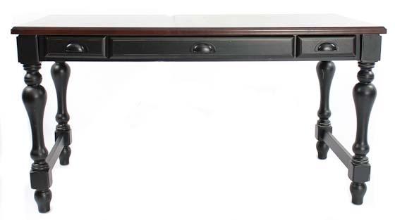 Black Writing Desk w/ Mahogany Top main image