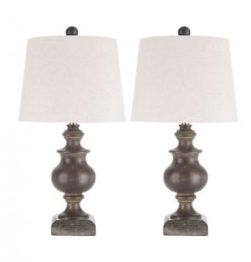 Wood Lamps with Beige Shades main image