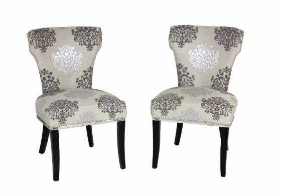 Cream/Silver Nail Head Pattern Chair Set main image