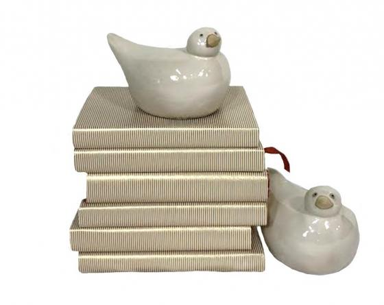 Gold Stripe Books with White Ceramic Birds