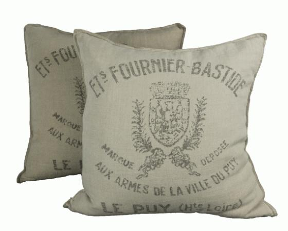 French Linen Pillows with Writing main image