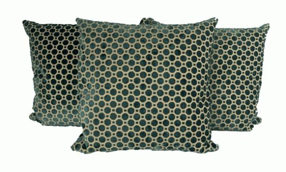 Emerald Velvet Honey Comb Patterned Pillows  main image