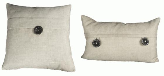 Beige Textured Button Pillows main image