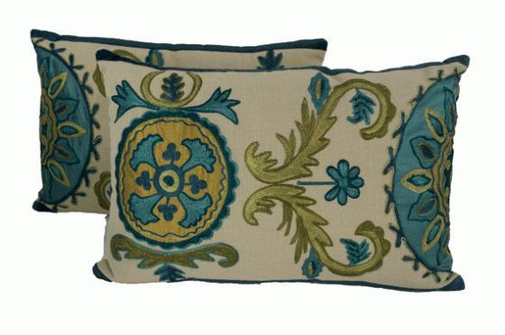Blue/Green Embroidered Pillows main image
